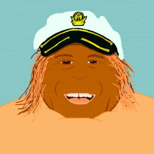 Club Dread coconut pete captain hat smile portrait sand beach happy bill paxton