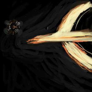interstellar, ship, black hole, gravitational lensing, time, clock, space
