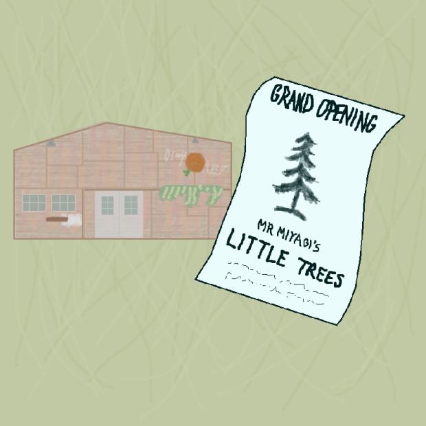 karate kid 3 mr miyagi little trees grand opening bonsai shop