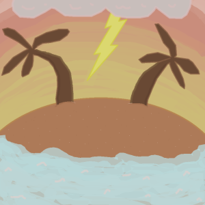 Tropic Thunder palm trees lightning waves water island sunset cloud