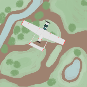 project x Cessna O-2B flying land water trees aerial view